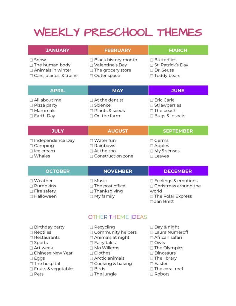 20+ Weekly preschool themes — The Organized Mom Life